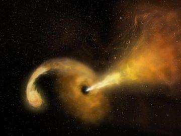 Recreación artística de la erupción de un agujero negro tras engullir una estrella
