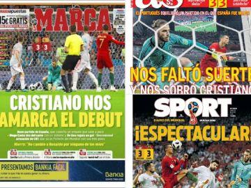 El Portugal - España, en las portadas de la prensa