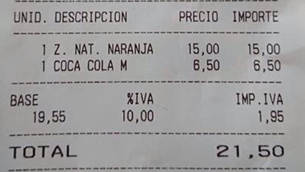 Denuncian los precios abusivos en un local de Mallorca: 15 euros por un zumo o 6,5 por una Coca-Cola