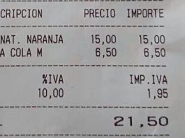 Cuenta de un bar en Palma de Mallorca