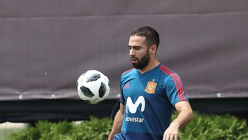 Dani Carvajal, en un entrenamiento en Krasnodar