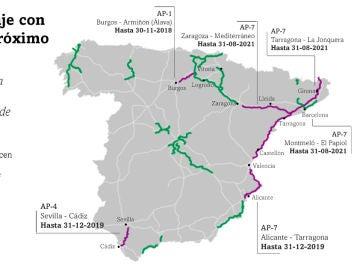 El mapa de las autopistas de peaje en España