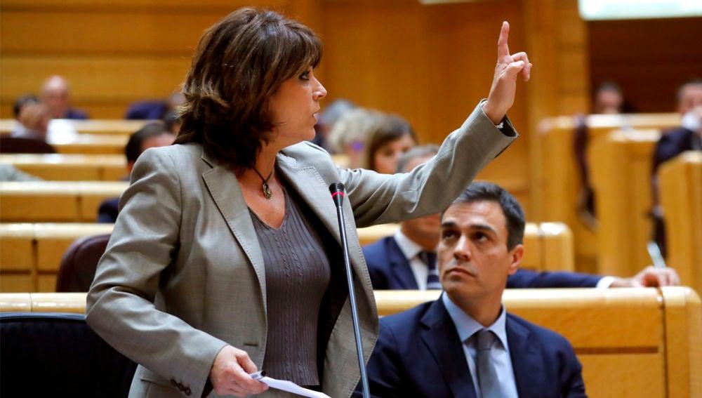 Dolores Delgado durante su comparecencia en el Senado