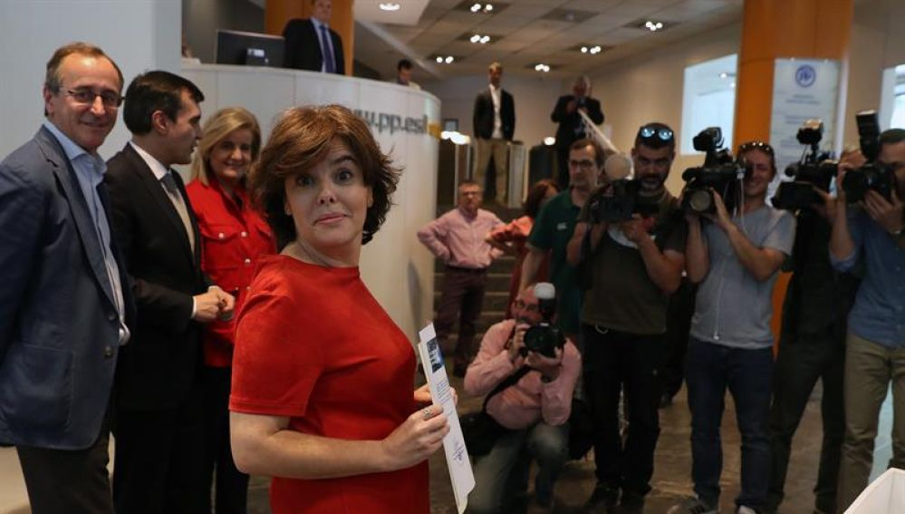 La candidata a presidir el PP y exvicepresidenta del Gobierno, Soraya Sáenz de Santamaría