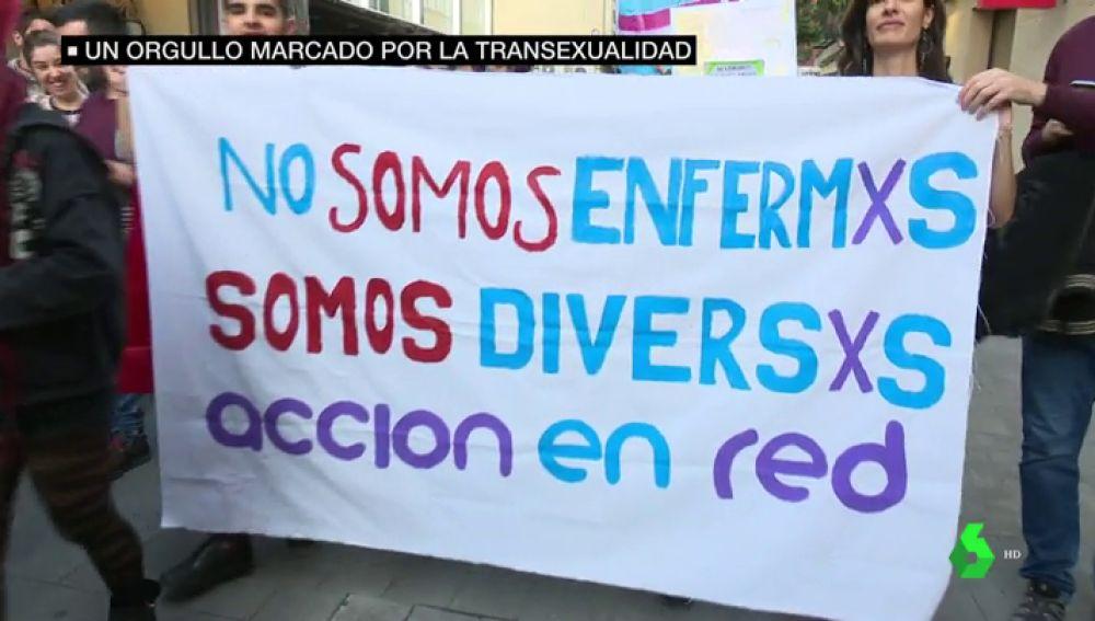 Pancarta en defensa de la transexualidad.