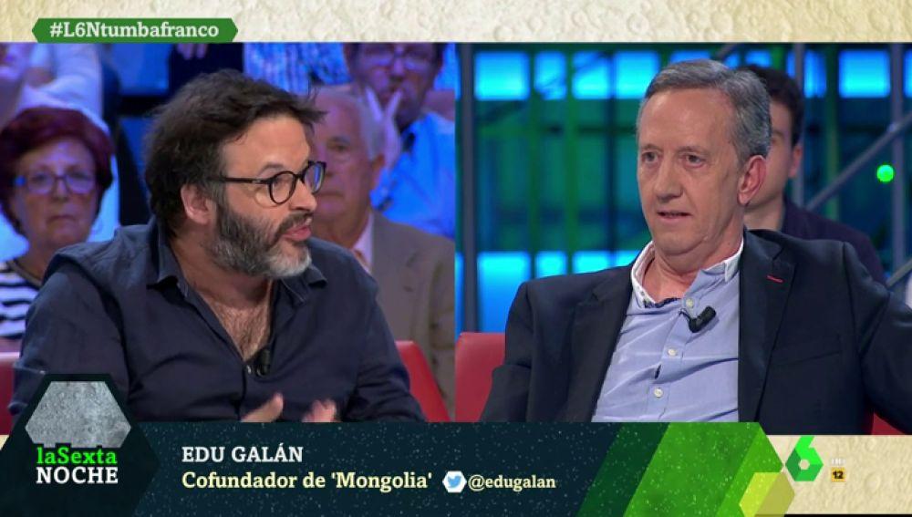 """La respuesta de Edu Galán al portavoz de la Fundación Francisco Franco: """"Verle a usted es como ver a un velociraptor"""""""