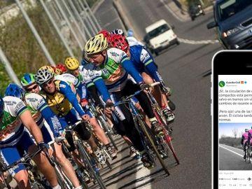 Pelotón ciclista y tuit Guardia Civil