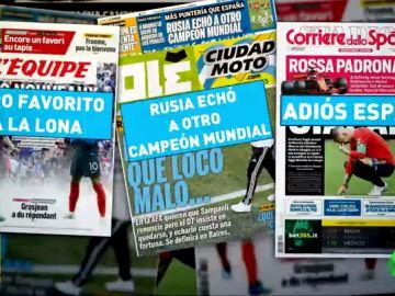 El adiós de España en el Mundial, protagonista en las portadas de la prensa en el mundo