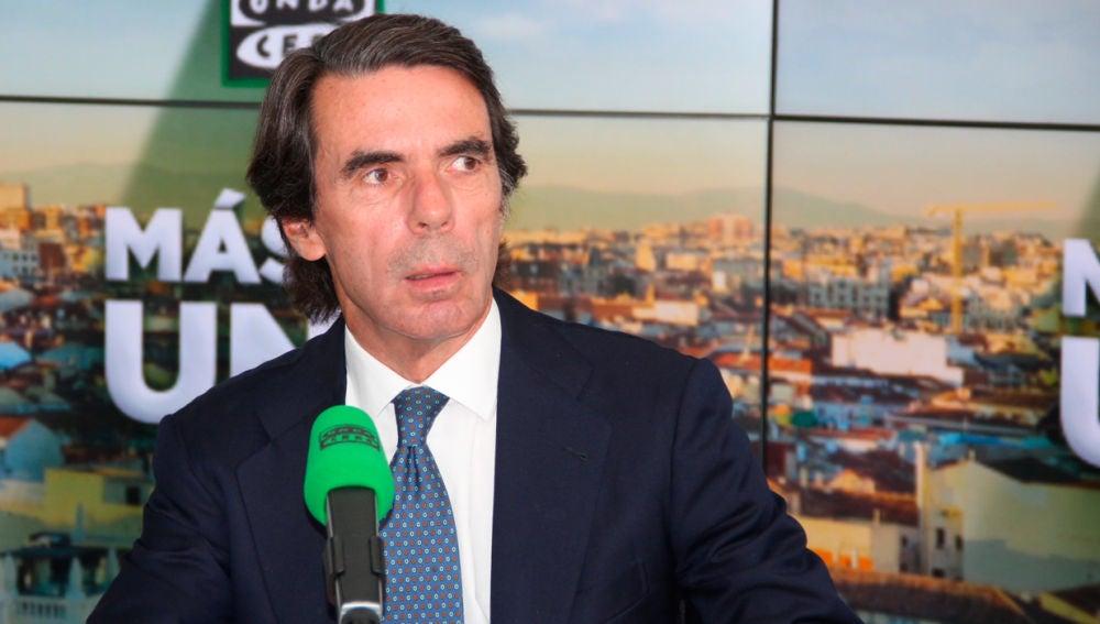 El ex presidente del Gobierno, José María Aznar, durante una entrevista en Onda Cero