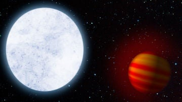 El exoplaneta mas caliente es arrastrado hacia su estrella