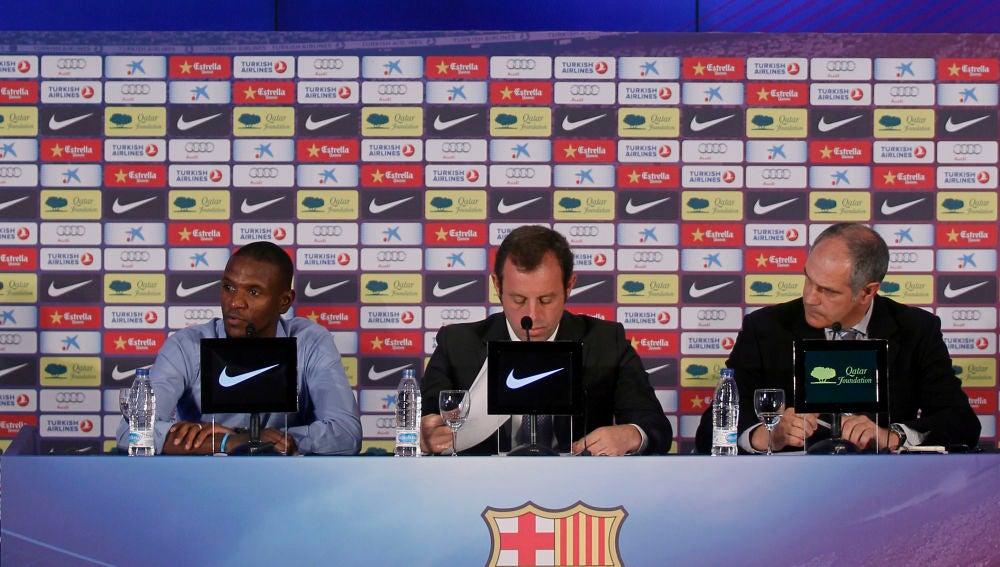 Abidal, Rosell y Zubizarreta, en la despedida del francés como jugador del Barcelona