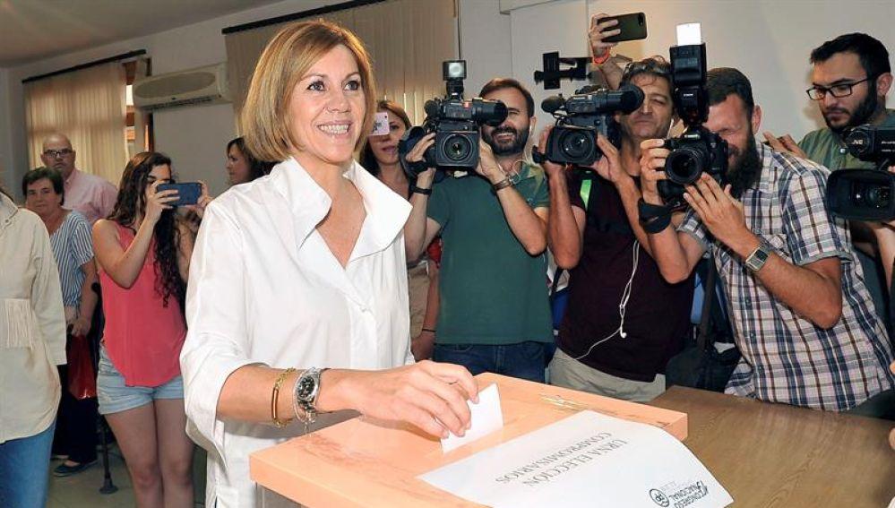 La candidata a la presidencia del Partido Popular, María Dolores de Cospedal