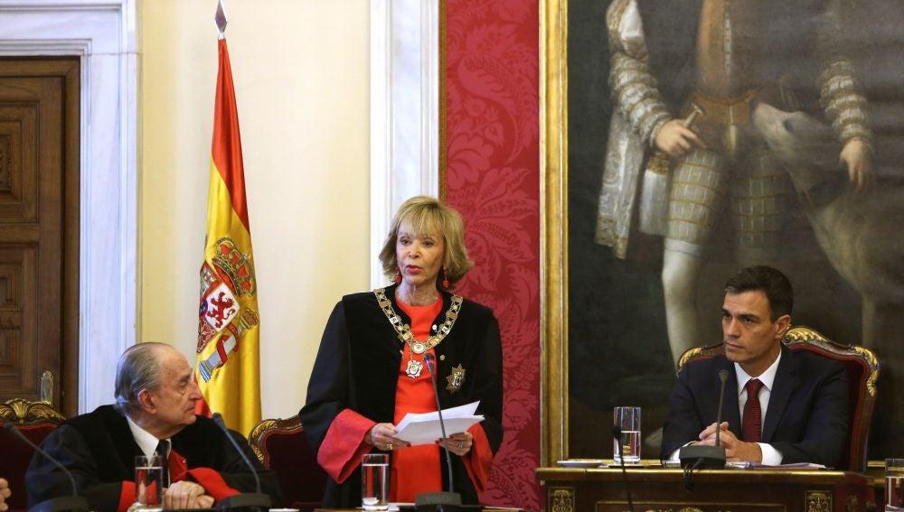 La nueva presidenta del Consejo de Estado, María Teresa Fernández de la Vega, durante su intervención en su toma de posesión.