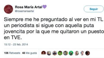 Tweet de Rosa María Artal, propuesta para el Consejo de RTVE.