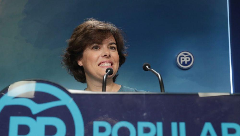 Soraya Sáenz de Santamaría en la sede del Partido Popular