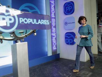Soraya Sáenz de Santamaría en la sede del PP