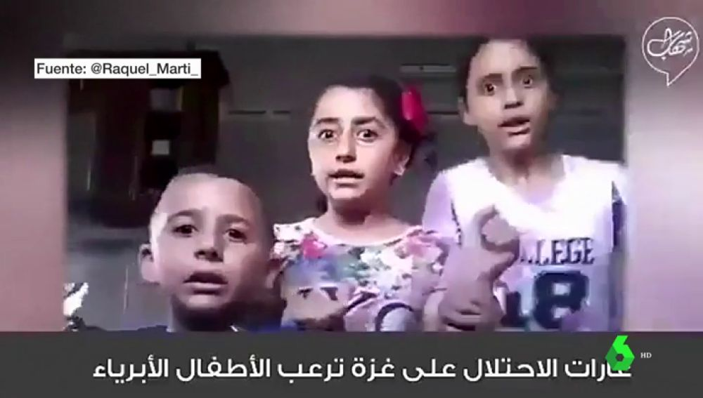 El terror de tres niños palestinos sorprendidos por unos bombardeos mientras grababan un vídeo