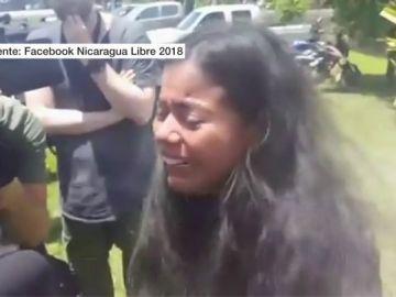 Una de las estudiantes que sufrieron el ataque de los paramilitares en Nicaragua
