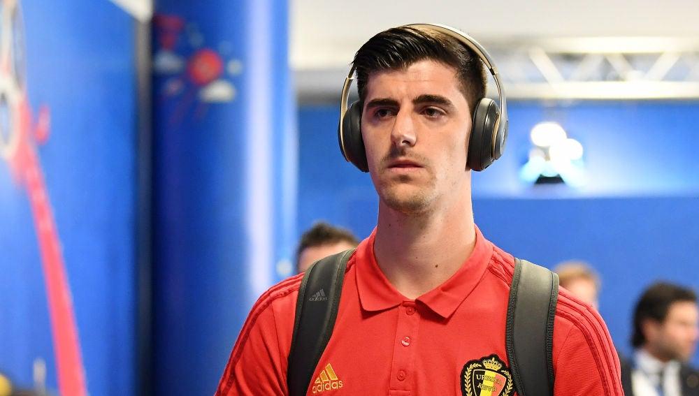 Courtois, durante un partido con Bélgica