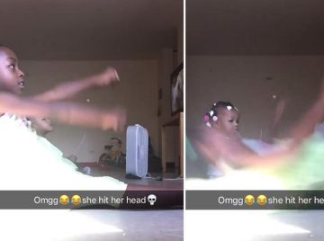 Una niña realiza el 'zoom challenge' ante las risas de sus padres