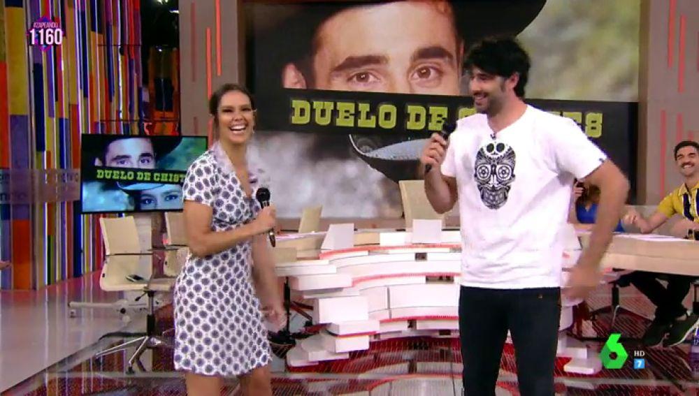 David Amor y Cristina Pedroche tienen su primer enfrentamiento en el 'Duelo de chistes'