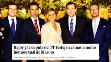 """""""Cuéntame cómo vais a renovarnos"""": el vídeo que afea la asistencia de Pablo Casado a la boda gay de Javier Maroto"""