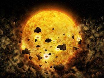 Recreación artística de la destrucción de un planeta por parte de una estrella