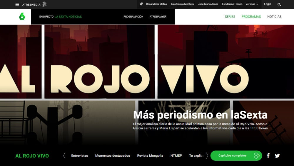 Imagen del site del Al Rojo Vivo