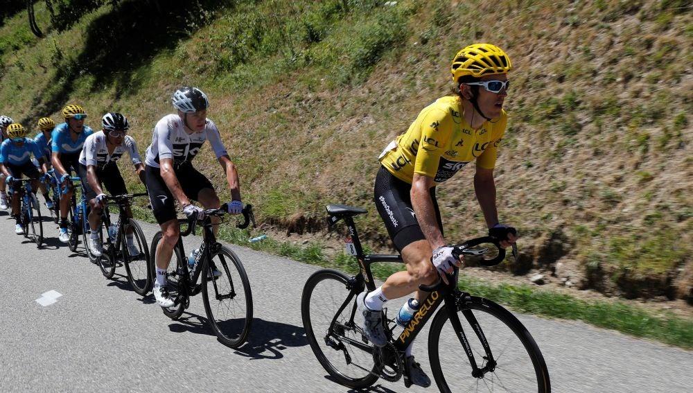 Geraint Thomas, subiendo el Alpe d'Huez