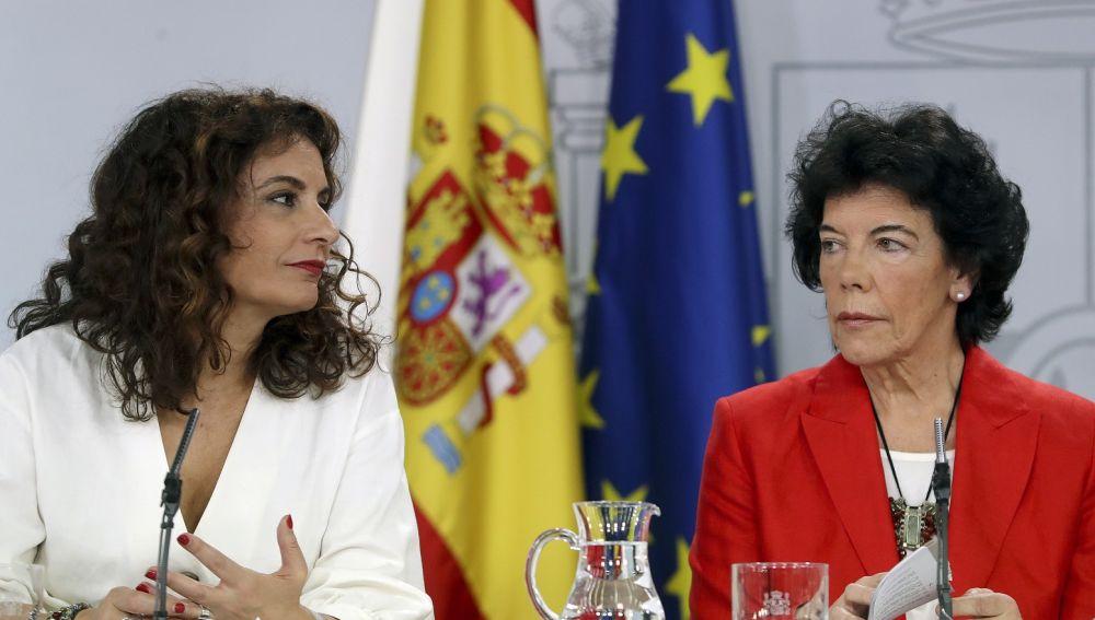 Montero y Celaá en la rueda de prensa tras el Consejo de Ministros