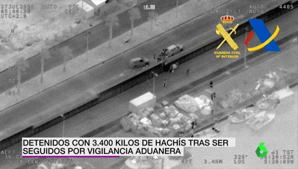 Detenidos con 3400 kilos de hachis tras ser seguidos por vigilancia aduanera