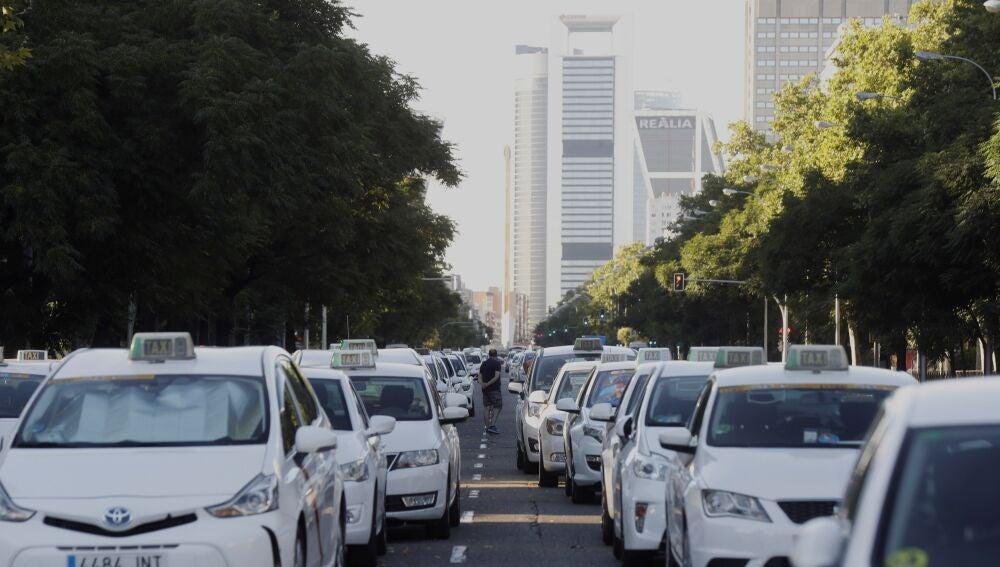 Las protestas de los taxistas españoles contra la proliferación de licencias VTC.