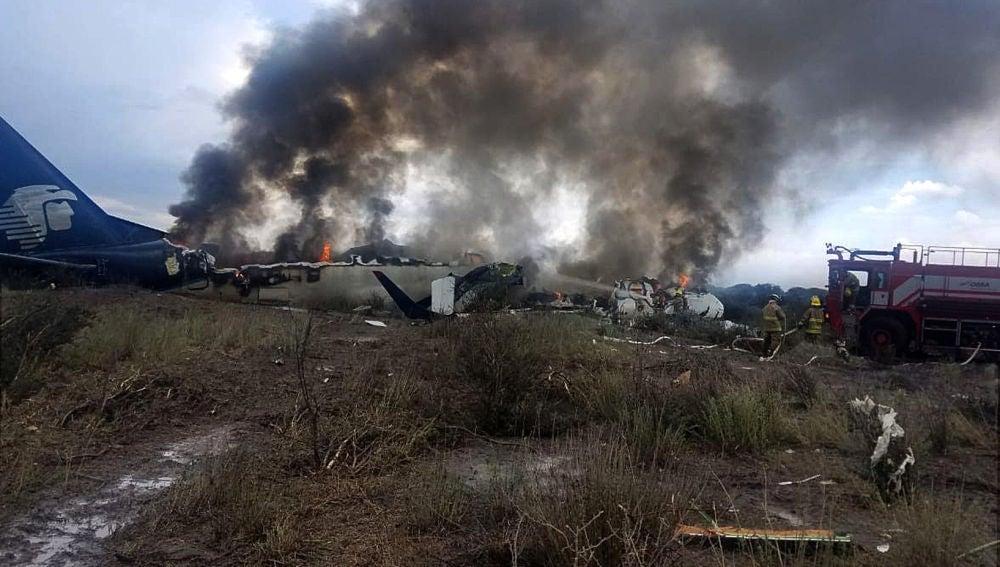 Foto del avión accidentado en México.