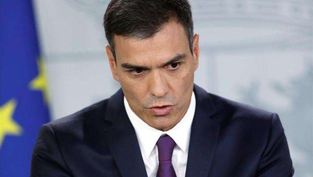 El presidente del Ejecutivo, Pedro Sánchez, durante una comparecencia en el Palacio de La Moncloa (Archivo)