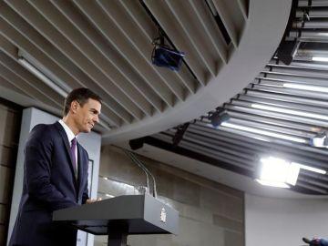 El presidente del Ejecutivo, Pedro Sánchez, durante su comparecencia en el Palacio de La Moncloa