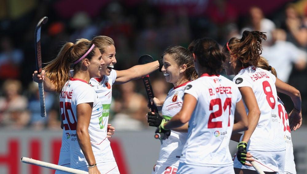 Las jugadoras españolas celebran un gol ante Australia