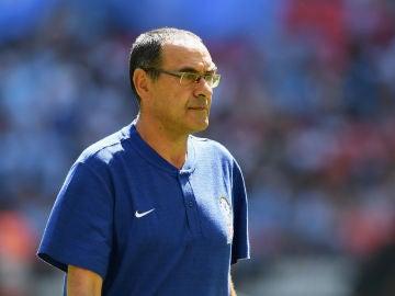 Maurizio Sarri, en el partido ante el Manchester City