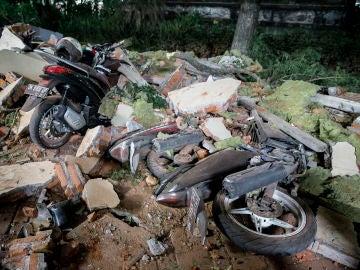 Daños originados por el terremoto en Lombok, Indonesia.