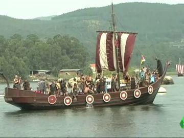 Barco vikingo en Catoira, Pontevedra