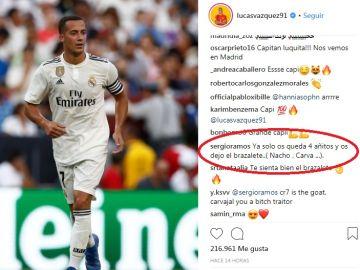 El comentario de Ramos en el Instagram de Lucas Vázquez