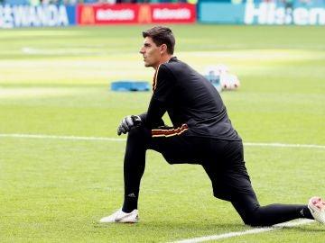 Courtois en un entrenamiento con la selección belga
