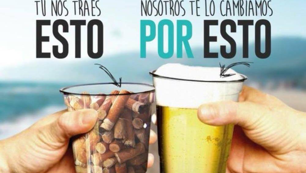 Campaña ambiental en un chiringuito de Castelldefels
