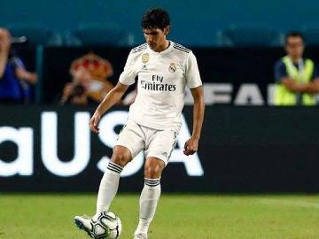 Jesús Vallejo, en un partido con el Real Madrid