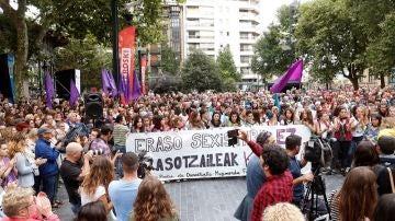 Manifestación en San Sebastián en repulsa a la violación de una menor