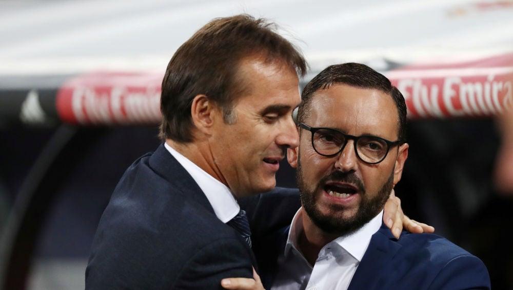 Lopetegui y Bordalás se saludan antes del Real Madrid - Getafe
