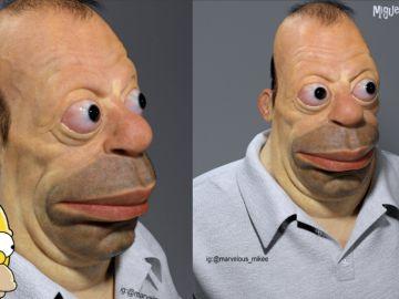 Homer Simpson en una escultura 3D