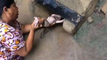 Una mujer rescata a un bebé que estaba dentro de una alcantarilla
