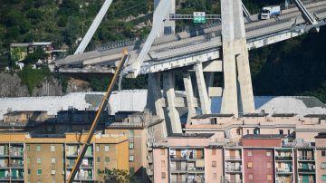 Vista general del puente Morandi en Génova