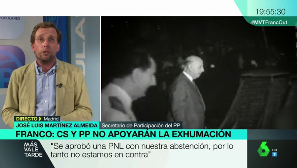 """Martínez Almeida, sobre la exhumación de Franco: """"No puede haber espacios de culto a un dictador, pero se deben cumplir los tiempos y procedimientos"""""""