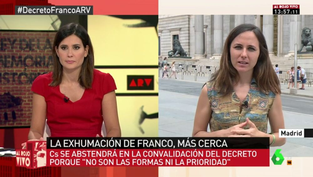 """Ione Belarra, sobre las críticas de PP y C's al decreto ley: """"Con esto se ve que hay partidos que no están del lado de los derechos humanos"""""""